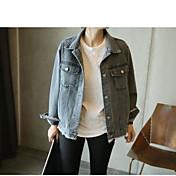 レディース 日常 春 ジャケット,現代風 シャツカラー ソリッド レギュラー コットン その他 長袖