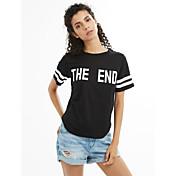 Mujer Simple Activo Diario Casual Verano Camiseta,Escote Redondo Un Color Letra Manga Corta Algodón Medio