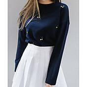 Mujer Regular Pullover Casual/Diario Simple,Un Color Escote Redondo Manga Larga Acrílico Otro Otoño Grueso Elástico