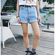 Mujer Sencillo Tiro Medio Microelástico Vaqueros Shorts Pantalones,Corte Recto Un Color