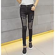 Mujer Sencillo Tiro Medio strenchy Ajustado Pantalones,Pitillo Un Color