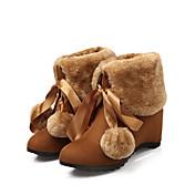 レディース 靴 フロック加工 秋 冬 スノーブーツ ブーツ ウェッジヒール ラウンドトウ ミドルブーツ 用途 カジュアル ブラック イエロー アーモンド
