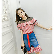 Mujer Moderno Diario Casual Verano T-Shirt Falda Trajes,Escote Redondo Líneas / Olas Manga Corta