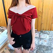 Mujer Bonito Deportes Camiseta,Escote Redondo Un Color Manga Corta Algodón