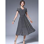 Mujer Línea A Vestido Casual/Diario Trabajo Vintage Sofisticado,Un Color Escote en Pico Hasta la Rodilla Manga Corta Poliéster VeranoTiro