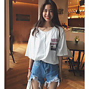 Mujer Simple Casual/Diario Camiseta,Escote en Pico Letra Media Manga Algodón