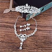 Mujer Collar Pendientes elegantes por delante y por detrás Cristal Elegant Brillante Legierung Forma de Flor Para Boda Regalos de boda