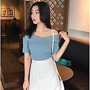Mujer Simple Casual/Diario Camiseta,Escote Barco Un Color Manga Corta Otro