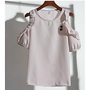 Mujer Simple Casual/Diario Verano Camiseta,Escote Redondo Un Color Manga Corta Otro