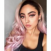 Mujer Pelucas sintéticas Encaje Frontal Largo Ondulado Natural Rosa Peluca natural Las pelucas del traje