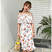 Mujer Vaina Vestido Noche Floral Escote Barco Midi Manga Corta Poliéster Verano Tiro Medio Microelástico Fino