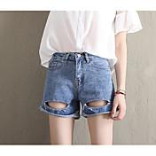 Mujer Sencillo Tiro Alto Microelástico Chinos Pantalones,Corte Recto Un Color