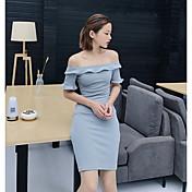 Mujer Corte Bodycon Vestido Fiesta Un Color Escote Barco Sobre la rodilla Manga Corta Poliéster Verano Tiro Medio Elástico Medio