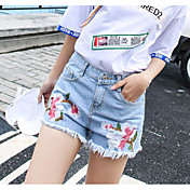 Mujer Sencillo Tiro Medio Microelástico Vaqueros Shorts Pantalones,Delgado Floral
