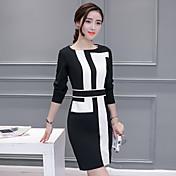 Mujer Corte Bodycon Vestido Casual/Diario Simple,Geométrico Escote Redondo Sobre la rodilla Manga Larga Poliéster Otoño Tiro Medio