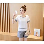 Mujer Simple Casual/Diario Verano T-Shirt Pantalón Trajes,Cuello Barco Un Color Manga Corta Microelástico