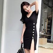 Mujer Vaina Vestido Casual/Diario Un Color Escote en Pico Sobre la rodilla Manga Corta Algodón Verano Tiro Medio Microelástico Fino