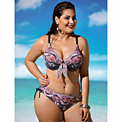 De las mujeres Bikini - Floral Push-Up / Sujetador Acolchado / Sujetador con Soporte - Con Cordones - Nailon / Espándex