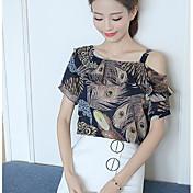 Mujer Simple Casual/Diario Camiseta,Escote Barco Estampado Manga Corta Otro