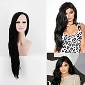 Mujer Pelucas sintéticas Sin Tapa Largo Muy largo Liso Negro Parte lateral Peluca de cosplay Peluca de celebridades Las pelucas del traje