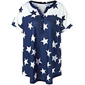 Mujer Simple Casual/Diario Verano Camiseta,Escote en Pico Un Color Geométrico Bloques Manga Corta Algodón