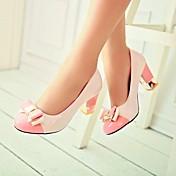 Feminino Saltos Plataforma Básica Couro Envernizado Verão Casual Salto Grosso Preto Verde Rosa claro 7,5 a 9,5 cm
