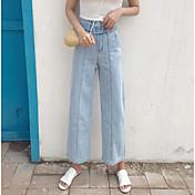 Mujer Sencillo Tiro Alto Inelástica Vaqueros Pantalones,Perneras anchas Un Color