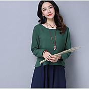 Mujer Simple Casual/Diario Camiseta,Escote Redondo Un Color Manga Larga Lino Otro