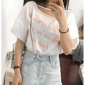Mujer Bonito Noche Camiseta,Escote Redondo Letra Media Manga Otro