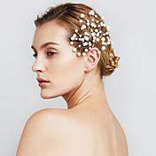 horquillas para el pelo de las mujeres de la joyería de la perla de la flor del pelo de fiesta de la boda (juego de 6)