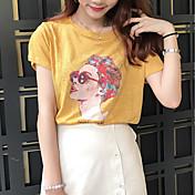 Mujer Simple Casual/Diario Camiseta,Escote Redondo Estampado Manga Corta Algodón