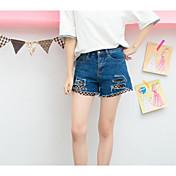 Mujer Sexy Tiro Alto Microelástico Shorts Pantalones,Corte Recto Un Color