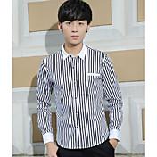 メンズ カジュアル/普段着 シャツ,シンプル シャツカラー ソリッド ストライプ コットン 長袖