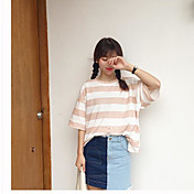 Mujer Regular Cardigan Casual/Diario Simple,A Rayas Escote Redondo Manga Larga Algodón Otro Primavera Medio Rígido