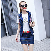 Mujer Simple Noche Casual/Diario Verano T-Shirt Falda Trajes,Escote Redondo Un Color Manga Corta