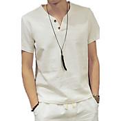 メンズ カジュアル/普段着 夏 Tシャツ,シンプル Vネック ソリッド リネン 半袖 薄手