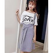 Mujer Simple Casual/Diario Verano T-Shirt Falda Trajes,Hombros Caídos A Rayas Refranes y citas Manga Corta