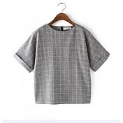 Mujer Simple Casual/Diario Primavera Camiseta,Escote Redondo Cuadrícula Manga Corta Algodón Medio