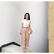 Mujer Corto Pullover Casual/Diario Un Color Escote Redondo Manga Corta Algodón Primavera Otoño Medio Microelástico