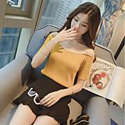 Mujer Corto Pullover Deportes Noche Casual/Diario Simple Bonito,Un Color Escote Barco Manga Corta Otro Verano Otoño Medio Elástico