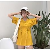 Mujer Simple Noche Camiseta,Escote en Pico Un Color Manga Corta Algodón