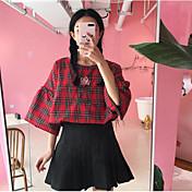 Mujer Simple Casual/Diario Camiseta,Escote Redondo Un Color A Cuadros Media Manga Algodón