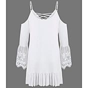 Mujer Simple Casual/Diario Verano Camiseta,Con Tirantes Un Color Manga 3/4 Algodón