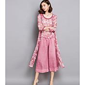 Mujer Simple Casual/Diario Verano Blusa Pantalón Trajes,Escote Redondo Estampado Sin Mangas Microelástico