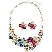Mujer Pendientes cortos Collar La imitación de diamante Cosecha estilo de Bohemia Personalizado Joyería de Lujo Floral LegierungForma de