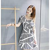 Mujer Línea A Vestido Casual/Diario Simple,A Rayas Escote Barco Sobre la rodilla Manga Corta Poliéster Verano Tiro Alto Microelástico