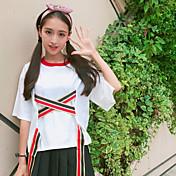 Mujer Simple Casual/Diario Camiseta,Escote Redondo Un Color Media Manga Algodón