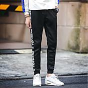 Hombre Sencillo Tiro Medio Microelástico Chinos Pantalones,Delgado Letra