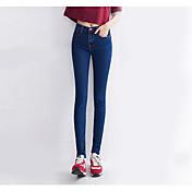 Mujer Sencillo Tiro Alto Microelástico Chinos Pantalones,Delgado Un Color
