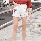 Mujer Sencillo Tiro Alto Microelástico Shorts Pantalones,Delgado Floral